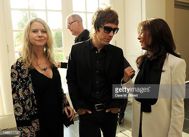 Lee Starkey, Jay Mehler and Olivia Harrison attend a Council Reception launching Yoko Ono's exhibition 'To The Light' at The Serpentine Gallery on...
