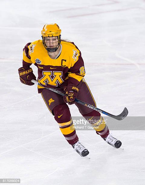 Lee Stecklein of the Minnesota Golden Gophers skates against the Boston College Eagles during the 2016 NCAA Division I Women's Hockey Frozen Four...