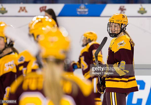 Lee Stecklein of the Minnesota Golden Gophers warms up prior to a game against the Boston College Eagles in the 2016 NCAA Division I Women's Hockey...