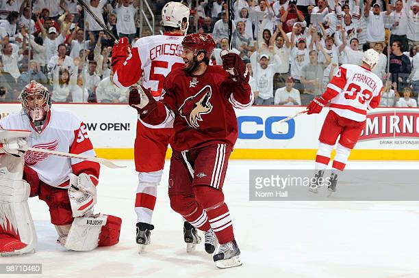 Lee Stempniak of the Phoenix Coyotes celebrates after a goal against Jimmy Howard of the Detroit Red Wings in Game Seven of the Western Conference...