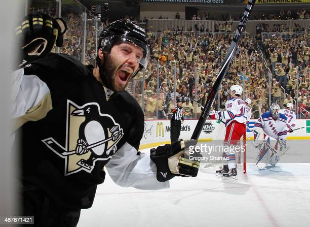Lee Stempniak of the Pittsburgh Penguins celebrates his goal during the second period against the New York Rangers in Game One of the Second Round of...