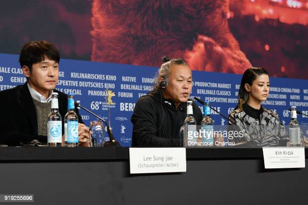 Lee Sung-jae, Kim Ki-duk and Mina Fujii are seen at the 'Human, Space, Time and Human' press conference during the 68th Berlinale International Film...