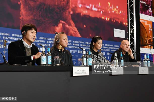 Lee Sungjae Kim Kiduk Mina Fujii and host Anatol Weber are seen at the 'Human Space Time and Human' press conference during the 68th Berlinale...