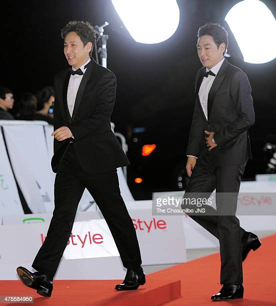 Lee SunKyun and Jo JinWoong attend the 51st Baeksang Arts Awards at Grand Peace Palace in Kyung Hee University on May 26 2015 in Seoul South Korea