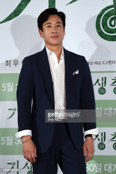Lee SunKyun attends press conference of Korean movie 'Parasite' at CGV Yongsan theater on May 28 2019 in Seoul South Korea