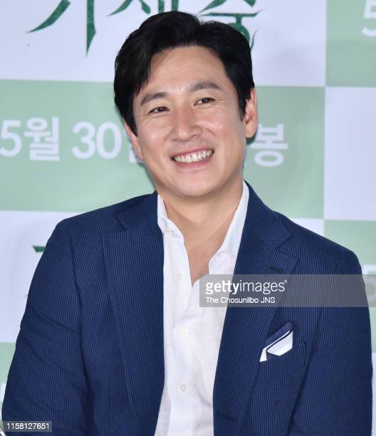 Lee SunKyun attends the Press Preview Parasite at Yongsan I'Park Mall on May 28 2019 in Seoul South Korea