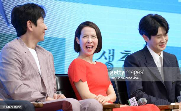 Lee SunKyun Cho YeoJeong and Choi WooSik attend premiere of Korean Movie 'Parasite' at Westin Chosun Hotel on April 22 2019 in Seoul South Korea
