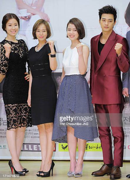 Lee TaeRan Sim YiYoung Go NaEun and Kim JiHoon attend the SBS Drama 'Goddess of Marriage' Press Conference at sbs Broadcasting Center on June 24 2013...