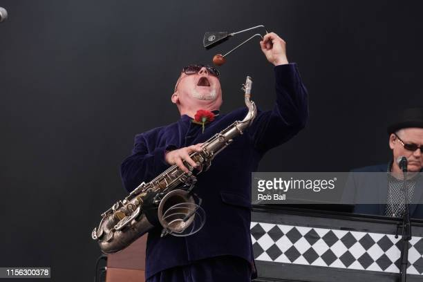Lee Thompson from Madness performs on stage during Isle of Wight Festival 2019 at Seaclose Park on June 16 2019 in Newport Isle of Wight