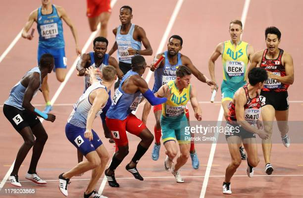 Lee Thompson of Great Britain Jhon Alexander Solis of Colombia Murray Goodwin of Australia and Kentaro Sato of Japan compete in the Men's 4x400...