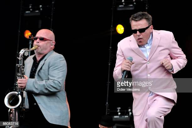Lee Thomson and Suggs of Madness perform on stage on day 2 of Pinkpop at Megaland on May 31, 2009 in Landgraaf, Netherlands.