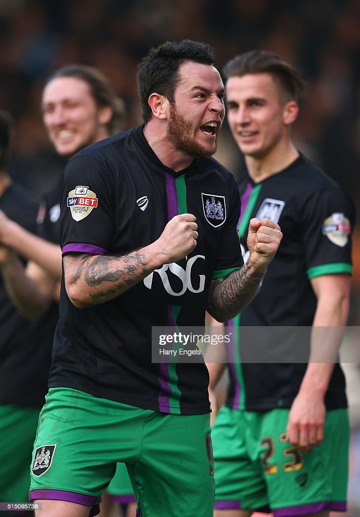 Lee Tomlin of Bristol City celebrates scoring the winning goal from a freekick during the Sky Bet Championship match between Fulham and Bristol City at Craven Cottage on March 12, 2016 in London, United Kingdom.