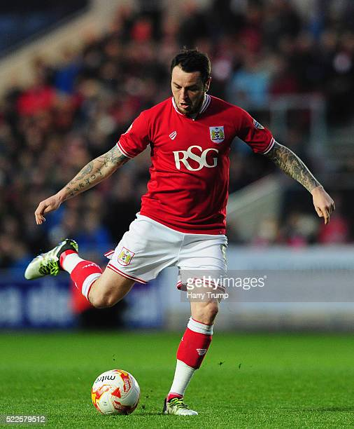 Lee Tomlin of Bristol City during the Sky Bet Championship match between Bristol City and Derby County on April 19 2016 in Bristol United Kingdom
