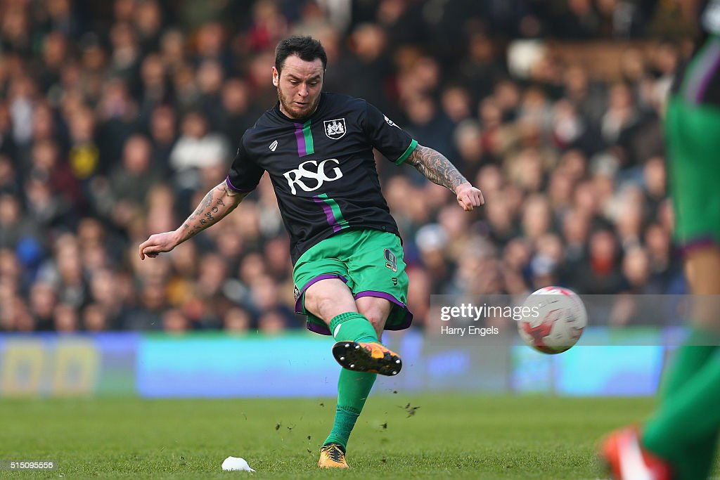 Lee Tomlin of Bristol City scores the winning goal from a freekick during the Sky Bet Championship match between Fulham and Bristol City at Craven Cottage on March 12, 2016 in London, United Kingdom.