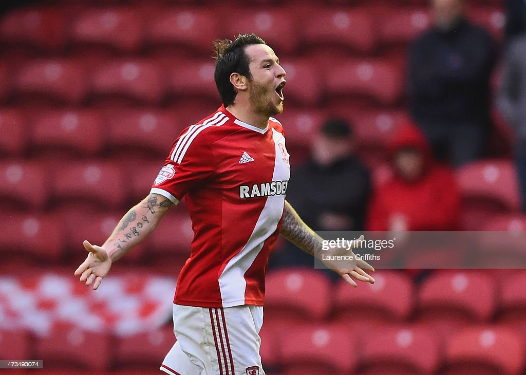 Lee Tomlin of Middlesbrough celebrates as he scores their first goal during the Sky Bet Championship Playoff semi final second leg match between Middlesbrough and Brentford at the Riverside Stadium on May 15, 2015 in Middlesbrough, England.