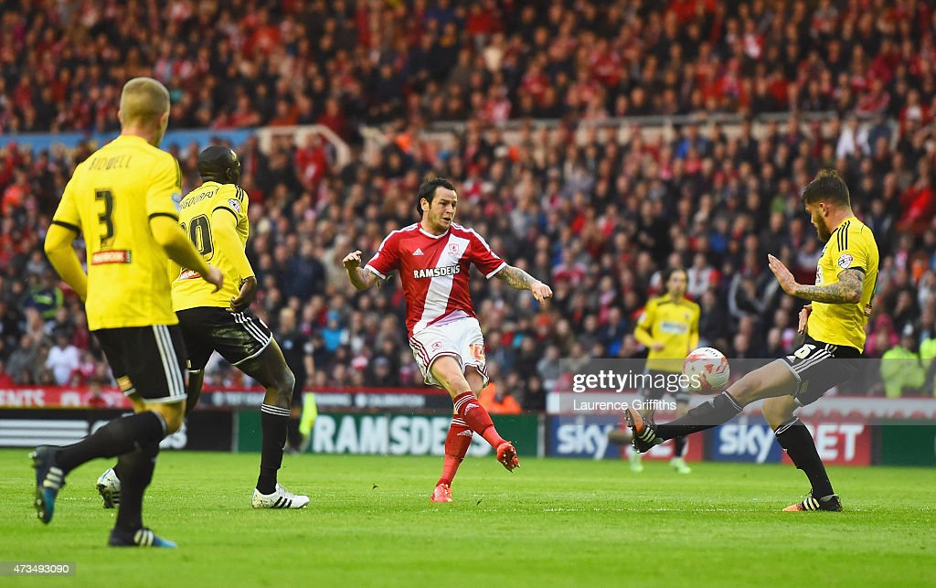 Lee Tomlin of Middlesbrough (C) scores their first goal during the Sky Bet Championship Playoff semi final second leg match between Middlesbrough and Brentford at the Riverside Stadium on May 15, 2015 in Middlesbrough, England.