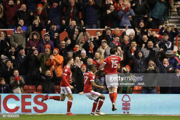 Lee Tomlin of Nottingham Forest celebrates after scoring a goal to make it 11 during the Sky Bet Championship match between Nottingham Forest and...
