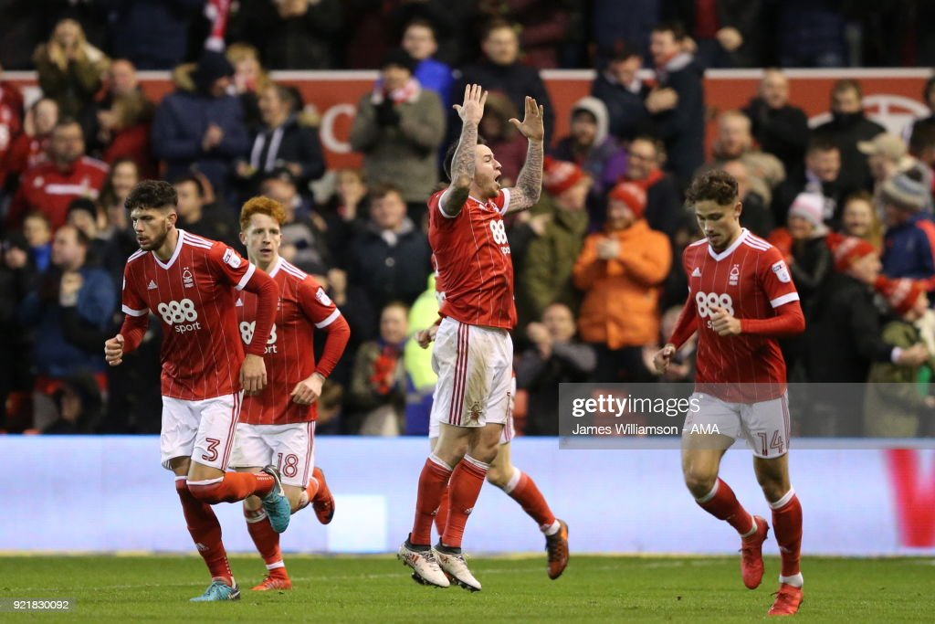 Lee Tomlin of Nottingham Forest celebrates after scoring a goal to make it 1-1 during the Sky Bet Championship match between Nottingham Forest and Reading at City Ground on February 20, 2018 in Nottingham, England.