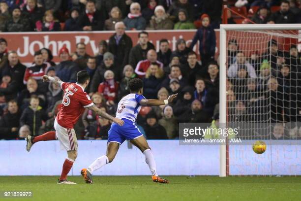 Lee Tomlin of Nottingham Forest scores a goal to make it 11 during the Sky Bet Championship match between Nottingham Forest and Reading at City...