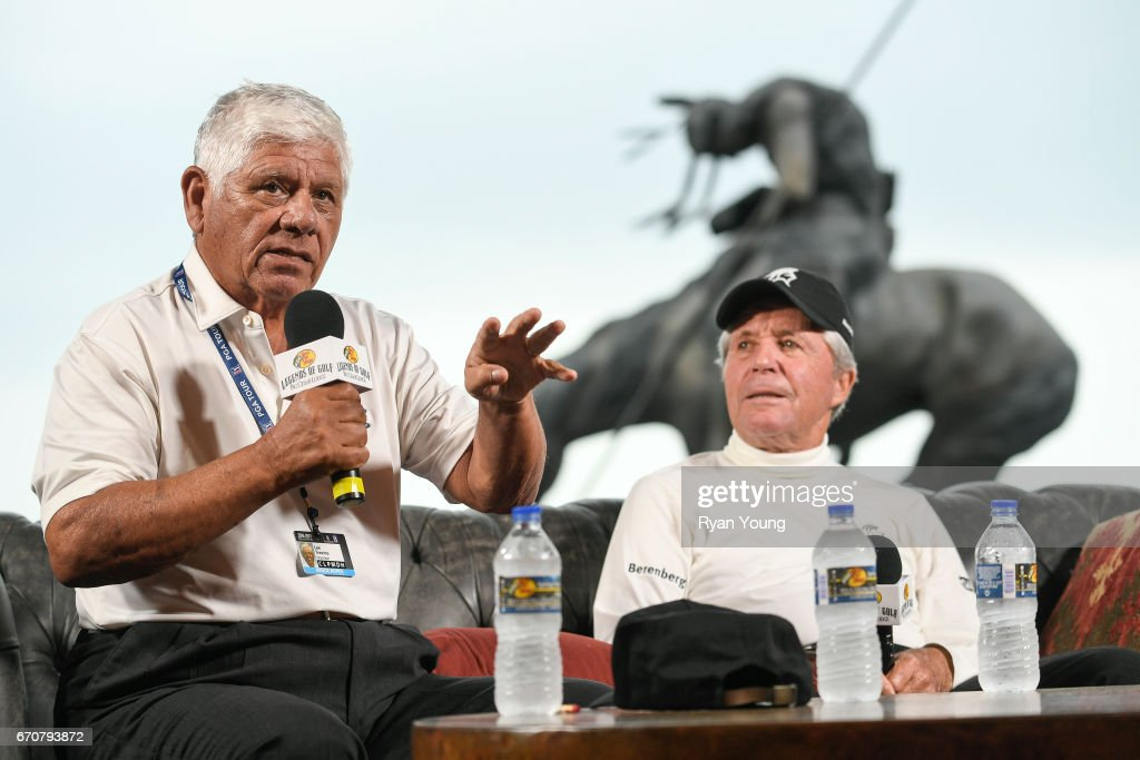 Lee Trevino and Gary Player speak during a press conference for the PGA TOUR Champions Bass Pro Shops Legends of Golf at Big Cedar Lodge at Top of the Rock on April 20, 2017 in Ridgedale, Missouri.