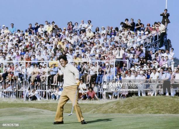 Lee Trevino celebrates winning the 1972 Open Championship at Muirfield.