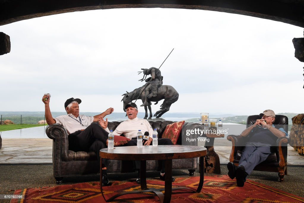 Lee Trevino, Gary Player, and Jack Nicklaus speak during a press conference for the PGA TOUR Champions Bass Pro Shops Legends of Golf at Big Cedar Lodge at Top of the Rock on April 20, 2017 in Ridgedale, Missouri.
