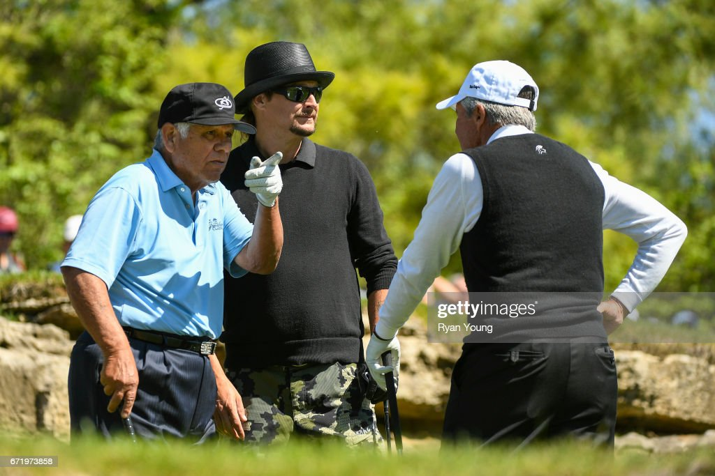 Lee Trevino, Gary Player, and Kid Rock talk on the fifth hole during the Legends of Golf Skins Shooutout during the PGA TOUR Champions Bass Pro Shops Legends of Golf at Big Cedar Lodge at Top of the Rock on April 23, 2017 in Ridgedale, Missouri.