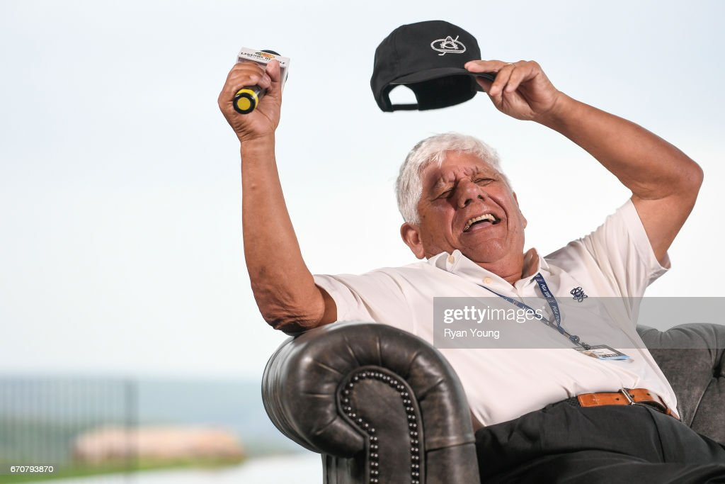Lee Trevino laughs while speaking during a press conference for the PGA TOUR Champions Bass Pro Shops Legends of Golf at Big Cedar Lodge at Top of the Rock on April 20, 2017 in Ridgedale, Missouri.