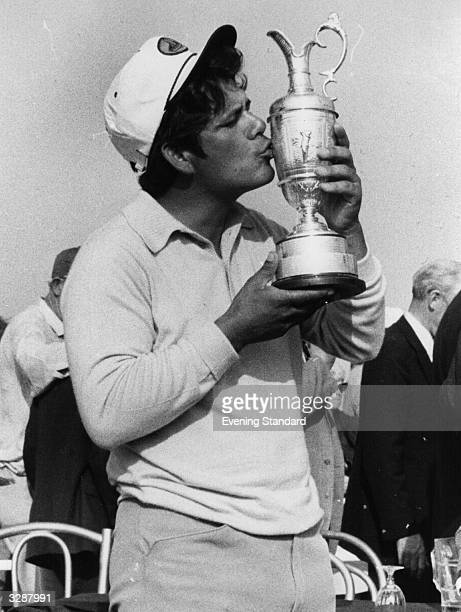 Lee Trevino of the USA kissing the cup after winning the Open Golf Championship at Muirfield Scotland