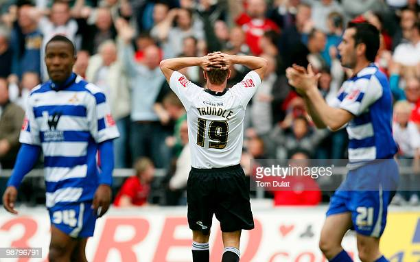 Lee Trundle of Swansea City holds his head as his goal is disallowed during the Coca Cola Championship match between Swansea City and Doncaster...