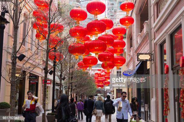 lee tung avenue in wan chai, hong kong - avenue stock pictures, royalty-free photos & images