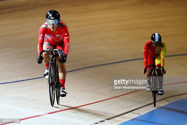 Lee Wai Sze MH also known as Sarah Lee of Hong Kong celebrates her gold medal win over Tania Calvo Barbero of Spain in the Women's Sprint during the...
