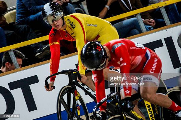 Lee Wai Sze of Hong Kong and Tania Calvo of Spain compete in the Women's Sprint final during the UCI Track World Cup at Omnisport Apeldoorn on...
