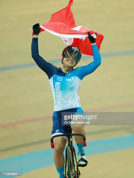 Lee Wai Sze of Hong Kong celebrates after winning the Women's Sprint Final on day 3 of Tissot UCI Track Cycling World Cup at the Hong Kong Velodrome...
