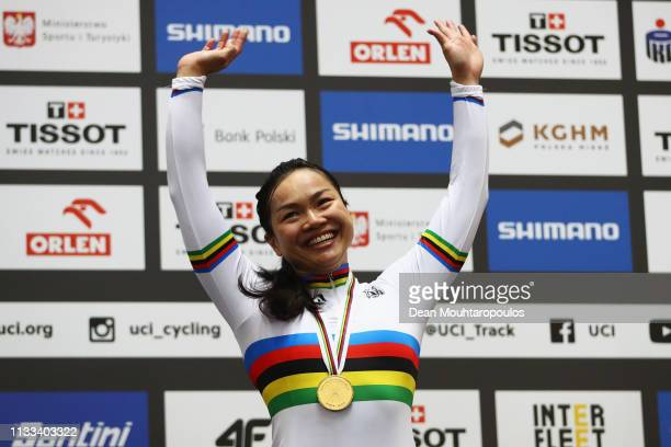 Lee Wai Sze of Hong Kong celebrates winning the gold medal in the Women's Keirin Final on day five of the UCI Track Cycling World Championships held...