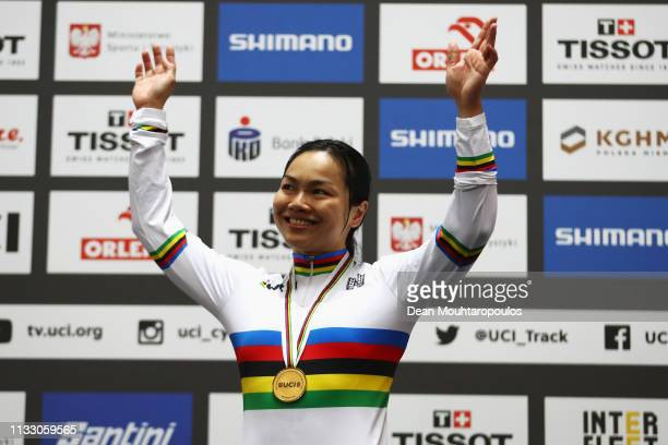Lee Wai Sze of Hong Kong celebrates winning the Women's sprint Gold Medal Final on day three of the UCI Track Cycling World Championships held in the...
