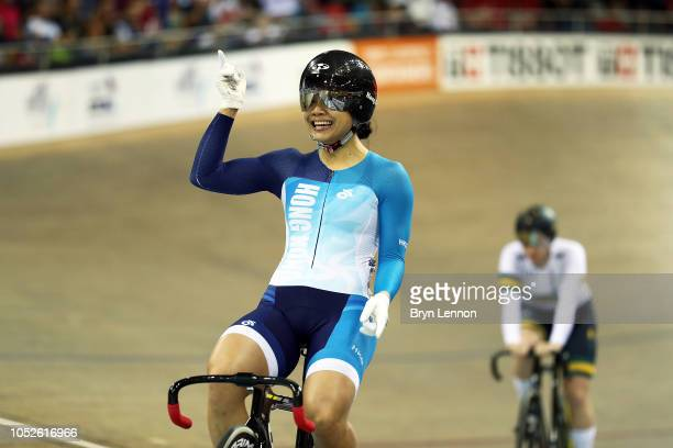 Lee Wai Sze of Hong Kong celebrates winning the WOmen's Sprint on during day two of the UCI Track Cycling World Cup on October 20 2018 in Paris France