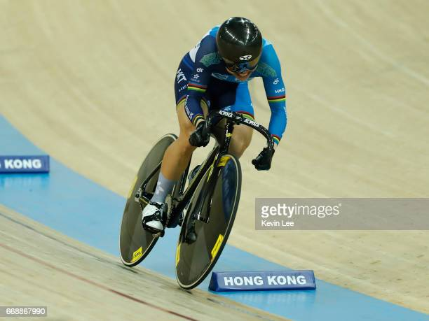 Lee Wai Sze of Hong Kong competes in Women's 500m Time Trial Final on Day 4 in 2017 UCI Track Cycling World Championships at Hong Kong Velodrome on...