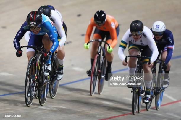 Lee Wai Sze of Hong Kong crosses the finish line to win the gold medal in the Women's Keirin Final on day five of the UCI Track Cycling World...