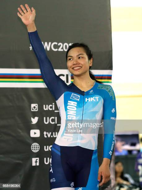 Lee Wai Sze of Hong Kong waves to fans on the podium after Women's Sprint Finals on Day 3 in 2017 UCI Track Cycling World Championships at Hong Kong...