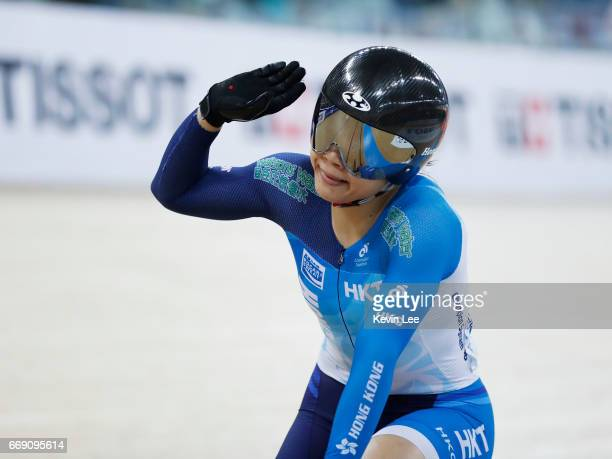 Lee Wai Sze of Hong Kong waves to spectators after losing in the Women's Keirin Second Round on Day 5 in 2017 UCI Track Cycling World Championships...