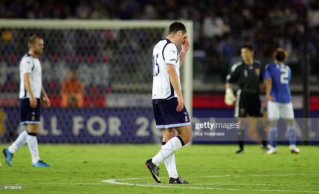Lee Wallace of Scotland looks dejected during the Kirin Challenge Cup 2009 match between Japan and Scotland at Nissan Stadium on October 10, 2009 in Yokohama, Japan.