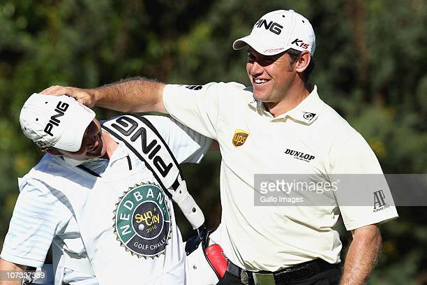 Lee Westwood and caddie Billy Foster during the final round of the Nedbank Golf Challenge at Gary Player Country Club on December 05 2010 in Sun City...