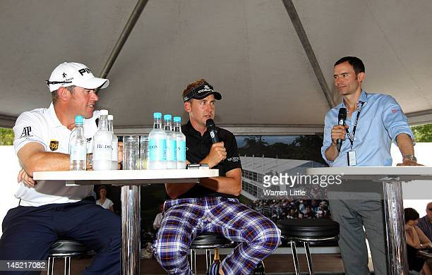 Lee Westwood and Ian Poulter answer questions from the public in the tented village at a QA session hosted by Andrew Cotter during the first round of...