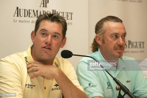 Lee Westwood and Miguel Angel Jimenez during The 134th Open Golf Championship - Audemars Piguet Introduces Its New Golf Ambassadors in St Andrews,...