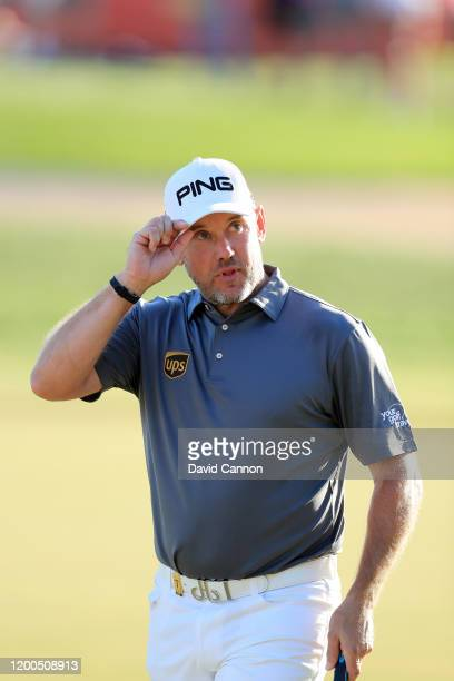 Lee Westwood of England acknowledges the crowds as he walks onto the 18th hole during the final round of the Abu Dhabi HSBC Championship at Abu Dhabi...