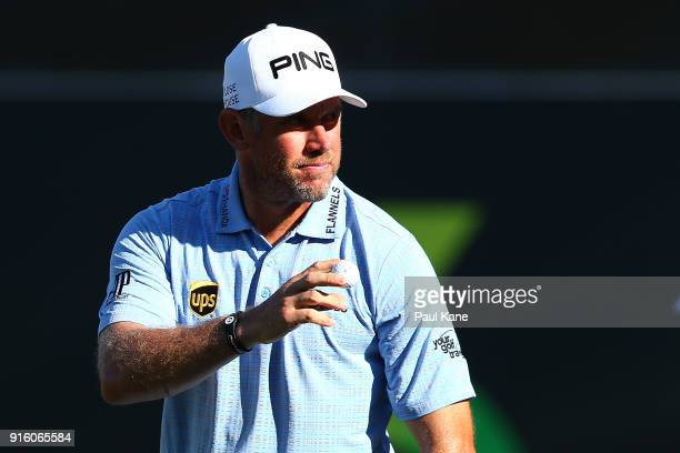 Lee Westwood of England acknowledges the gallery after completing his round during day two of the World Super 6 at Lake Karrinyup Country Club on...