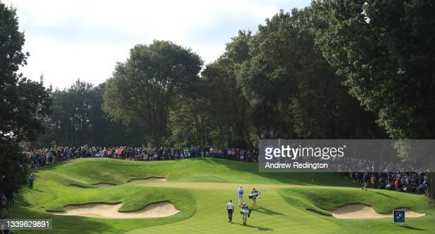 Lee Westwood of England and Henrik Stenson of Sweden are pictured on the second hole during Day Three of The BMW PGA Championship at Wentworth Golf...