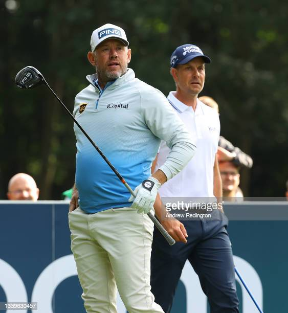 Lee Westwood of England and Henrik Stenson of Sweden are pictured on the third tee during Day Three of The BMW PGA Championship at Wentworth Golf...