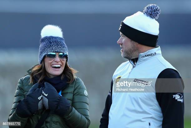 Lee Westwood of England and his girlfriend Helen Storey are pictued during day one of the 2017 Alfred Dunhill Championship at The Old Course on...